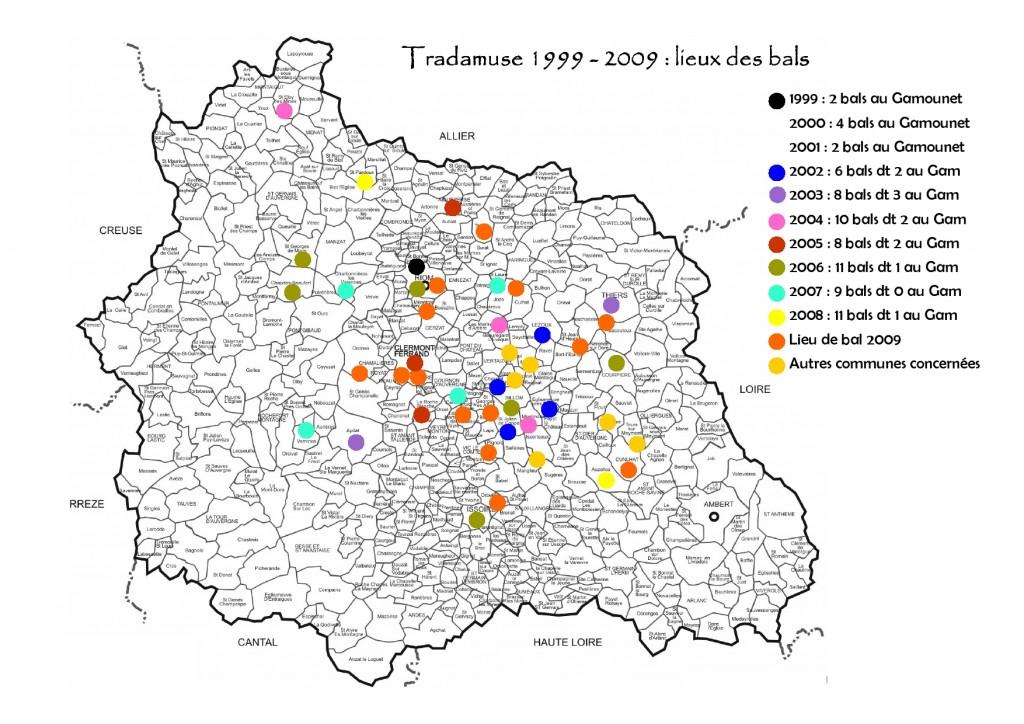 Carte des actions Tradamuse pendant ses 10 premières années d'activité